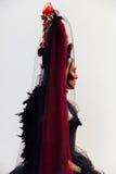 在黑葡萄酒礼服的两面妇女画象 巫婆有红色艺术构成的妇女寡妇 免版税库存图片