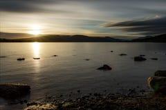在洛蒙德湖的日落 图库摄影