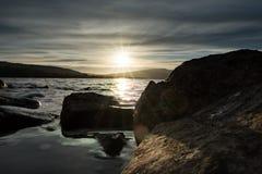 在洛蒙德湖的日落 库存图片