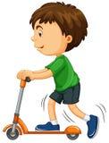 在滑行车的男孩骑马 皇族释放例证