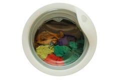 在洗衣机的坏的衣裳 免版税库存图片