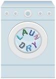 在洗衣机的字洗衣店 免版税库存图片
