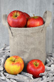 在黄麻袋子的苹果土豆 库存照片