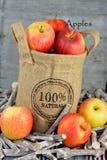 在黄麻袋子的100个procent自然苹果 库存照片