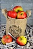 在黄麻袋子的100个procent自然苹果 免版税库存照片