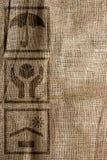在麻袋布的集合贸易的标志 免版税库存图片