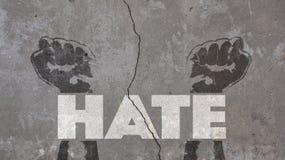 在破裂的墙壁写的怨恨 库存图片