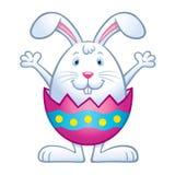 在破裂的复活节彩蛋壳的兔宝宝 免版税库存照片