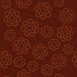 在黑褐色背景的简单的概要花 花卉缝 免版税库存照片