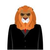 在黑西装的狮子商人 与大ma的掠食性动物 免版税库存图片
