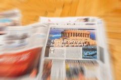 在主要国际newspa上的Algemeen Dagblad荷兰杂志 库存图片