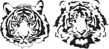 在黑解释的老虎头 免版税库存照片
