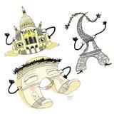 在巴黎设置凯旋门,大教堂,艾菲尔铁塔盖c 向量例证