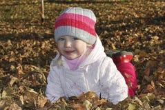 在说谎在叶子小蓝眼睛的白肤金发的女孩的秋天公园 库存图片