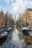 在画象的阿姆斯特丹运河 库存照片