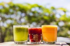 在翻转者glas的黄色,绿色和红色果蔬汁 库存照片