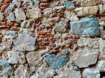 在巴达霍斯,西班牙Alcazaba的石墙  免版税库存图片