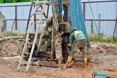 在建造场所使船具不耐烦在马来西亚 免版税库存照片
