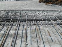 在建造场所的具体建筑联接 库存照片