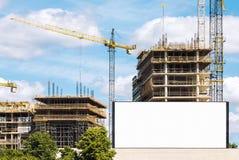 在建造场所的室外广告牌 免版税图库摄影