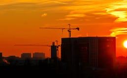 在建造场所的日出 免版税图库摄影