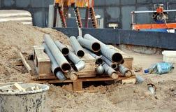 在建造场所的管子 免版税库存照片