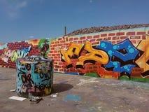 在建造场所的街道画墙壁 库存照片