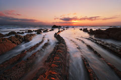 在巴里卡海滩的复理层岩石在日落 库存图片