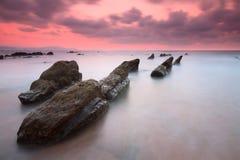 在巴里卡海滩的日落 库存照片