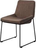 在黑金属腿的设计师棕色椅子 在白色背景隔绝的现代软的椅子 库存照片