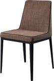 在黑金属腿的设计师棕色用餐的椅子 在白色背景隔绝的现代软的椅子 库存图片