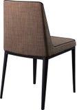 在黑金属腿的设计师棕色用餐的椅子 在白色背景隔绝的现代软的椅子 免版税库存图片