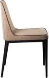 在黑金属腿的设计师米黄用餐的椅子 在白色背景隔绝的现代软的椅子 免版税库存图片