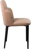 在黑金属腿的设计师米黄用餐的椅子 在白色背景隔绝的现代软的椅子 库存图片