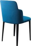 在黑金属腿的设计师蓝色用餐的椅子 在白色背景隔绝的现代软的椅子 库存图片