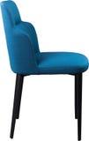 在黑金属腿的设计师蓝色用餐的椅子 在白色背景隔绝的现代软的椅子 免版税库存照片