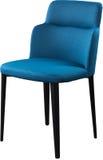 在黑金属腿的设计师蓝色用餐的椅子 在白色背景隔绝的现代软的椅子 库存照片