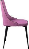 在黑金属腿的设计师紫罗兰色用餐的椅子 在白色背景隔绝的现代软的椅子 库存图片