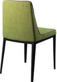在黑金属腿的设计师绿色用餐的椅子 在白色背景隔绝的现代软的椅子 免版税库存照片