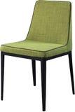 在黑金属腿的设计师绿色用餐的椅子 在白色背景隔绝的现代软的椅子 库存照片