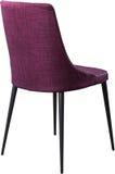 在黑金属腿的设计师紫色用餐的椅子 在白色背景隔绝的现代软的椅子 免版税库存照片