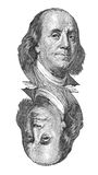 在$100钞票的本杰明・富兰克林画象。隔绝在白色。 皇族释放例证