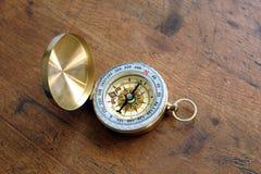 在黄铜案件的老指南针在葡萄酒木背景顶视图特写镜头 免版税库存照片