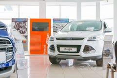 在2017年经销权福特陈列室和汽车在基洛夫市 免版税图库摄影