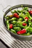 在滤锅的新墨西哥绿色和红色智利胡椒 免版税图库摄影