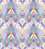 在年轻阿兹台克样式-无缝的背景的抽象geo之字形设计 免版税库存照片