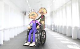 在医院轮椅的资深夫妇 免版税库存图片