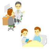 在医院,人看见一位医生和 免版税库存照片