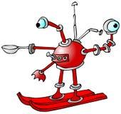 在滑雪的机器人 库存例证