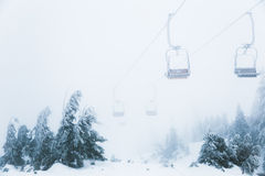 在滑雪胜地的恶劣天气在森林上举 库存图片